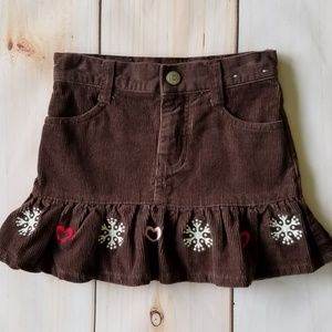 Gymboree Brown Corduroy Winter Cheer Skorts